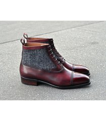 handmade burgundy leather ankle boots,tweed casual cap toe boot, men formal boot