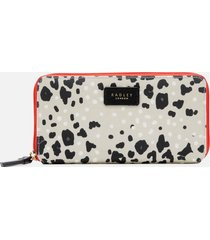 radley women's leopard oilskin large zip around matinee purse - aluminium