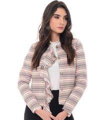 chaqueta para mujer en paño multicolor