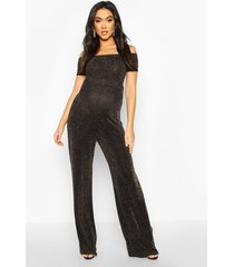 maternity off the shoulder shimmer jumpsuit, gold