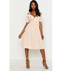 cold shoulder ruffle belted midi dress, blush