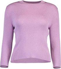 three-quarter sleeve lurex knit pullover