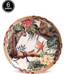 conjunto 6pçs pratos de sobremesa porto brasil coup pantanal branco