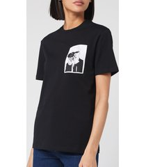 karl lagerfeld women's legend pocket t-shirt - black - l