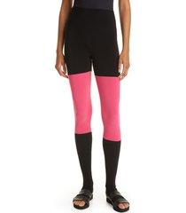 women's norma kamali spliced high waist stirrup leggings, size x-small - red