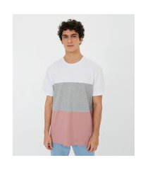camiseta manga curta lisa com recortes   blue steel   branco   p