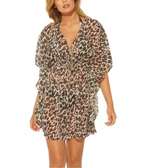 bleu by rod beattie leopard printed caftan cover-up women's swimsuit