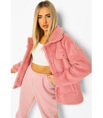 oversized faux fur teddy trucker jas, rose