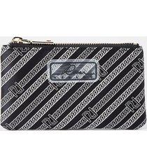 river island womens black diagonal ri stripe zip pouch purse