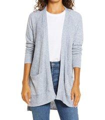 petite women's caslon linen blend open front cardigan, size xx-small p - blue