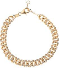 curb chain pave cubic zirconia bracelet