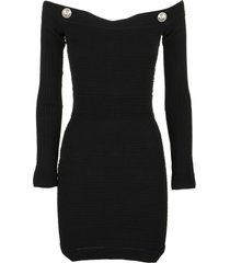 balmain black knit bustier dress with silver-tone buttons