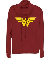 fifth sun dc wonder woman simple logo cowl neck women's pullover fleece