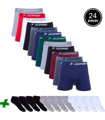 kit dorbe com 12 cuecas boxer + 12 pares meia colorido