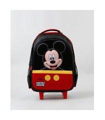 mochila escolar infantil com rodinhas mickey mouse preta