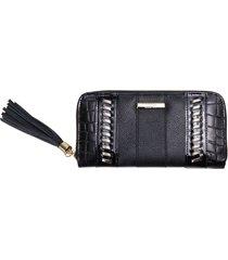 carteira feminina em couro zariff croco preta