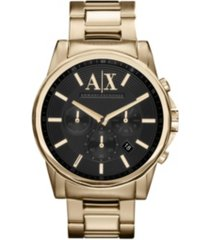 ax men's gold-tone stainless steel bracelet watch 45mm