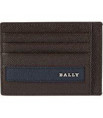 bally men's lortyn leather card holder - chocolate