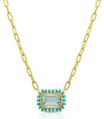 18kt yellow gold green amethyst turquoise diamond portofino chain link necklace
