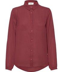 filo print shirt blus långärmad röd modström