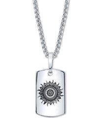 """he rocks sun motif dog tag pendant necklace in stainless steel, 24"""" chain"""