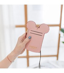 cute mickey mouse shape card holder wallet purse neck bag for women