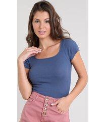 blusa feminina básica canelada manga curta decote redondo azul