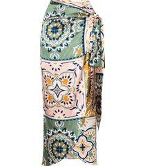 silvia tcherassi bonnan patchwork wraparound skirt - white