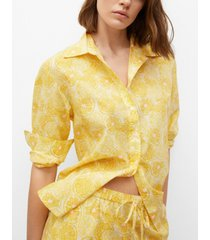 mango women's printed cotton shirt