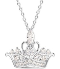 "disney cubic zirconia princess tiara 18"" pendant necklace in sterling silver"