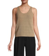 vince women's crocheted tank top - navy - size m