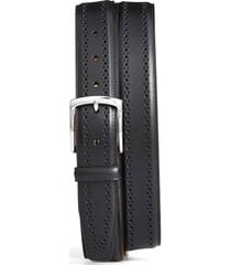 men's allen edmonds manistee brogue leather belt, size 44 - black