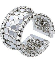 anello a fascia con strass in metallo rodiato color argento per donna