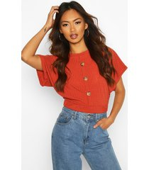 boxy mock button front top, rust