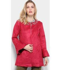 casaco sobretudo lily fashion pérolas feminino