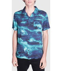 camisa ellus guayabera full print galaxy azul - calce regular