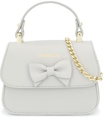 monnalisa bow detail logo tote bag - grey