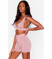 womens mouth off bralette and boxer shorts set - mauve