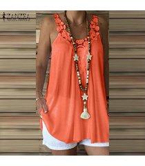 zanzea verano de las mujeres sin mangas de encaje de ganchillo con tiras chaleco remata la camisa de la blusa plus -naranja