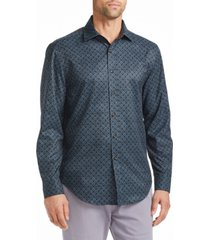 tallia men's slim fit 4-way stretch fabric long sleeve shirt with free matching mask