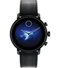 movado connect 2.0 black leather strap hybrid touchscreen smart watch 42mm