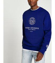 river island mens blue soho studio print crew neck sweatshirt