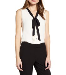 women's anne klein tie neck sleeveless blouse