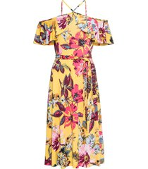 abito a fiori con spalle scoperte (giallo) - bodyflirt boutique