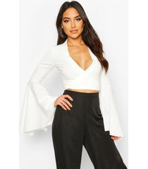 extreme flute sleeve wrap cropped top, ivory