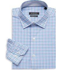 bugatchi men's regular-fit graph check dress shirt - aqua - size 16
