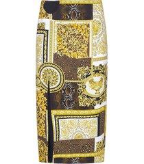 versace barocco print viscose pencil skirt