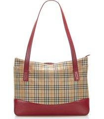 burberry haymarket check canvas shoulder bag brown, beige, multi sz: m
