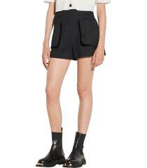 women's sandro ellie pocket shorts, size 10 us - black