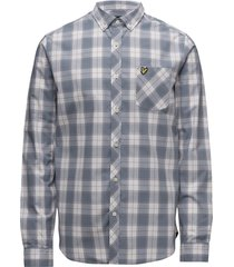 check shirt overhemd casual blauw lyle & scott